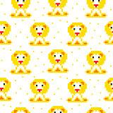 Yellow lion cartoon pixel art seamless pattern.