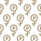 Ruble currency symbol floral abstract seamless pattern.