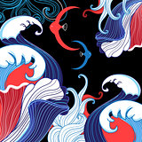 Vector abstract sea background with waves a