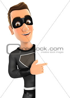 3d black hero pointing to right blank wall