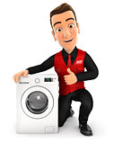 3d seller with washing machine and thumb up