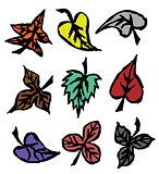 Grunge autumn leaves hand drawn