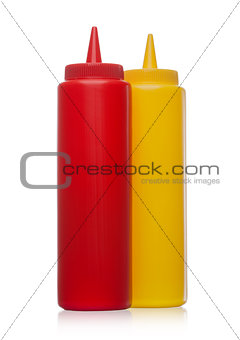 Classic plastic container with ketchup and mustard