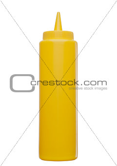 Classic plastic container with mustard on white