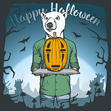 Vector illustration of Halloween bear concept