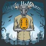 Vector illustration of Halloween bull concept