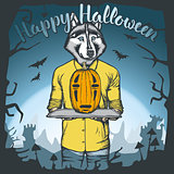 Vector illustration of Halloween dog concept