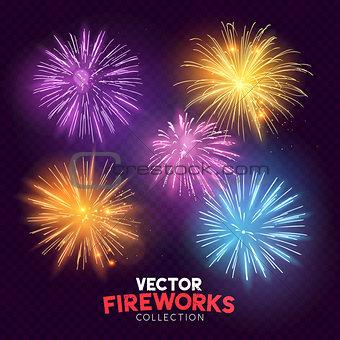 Bright Vector Fireworks