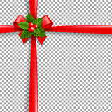 Christmas Ribbon Bow With Holly Berry And Transparent Background