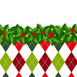 Xmas Border With Holly Berry And Tartan Background