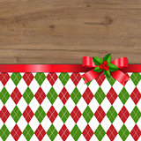 Xmas Tartan Background With Red Ribbon