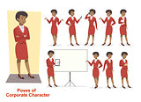 Set of businesswoman character in office working model - Illustration