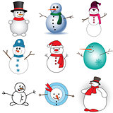 Cute snowmen set on white background
