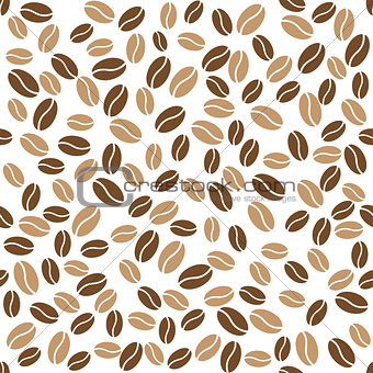 Abstract coffee beans pattern white background