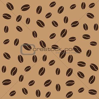 Abstract coffee beans pattern brown background