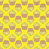 Orange lemon cream cake seamless pattern