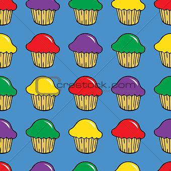 Bright cream cupcake seamless pattern