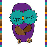 Sleeping cute funny owl hand drawn
