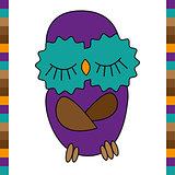 Sleeping cute funny owl hand drawn