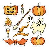 Vector Helloween set. Color pumpkin and other horror elements