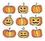 Vector Halloween pumpkin comic color set.