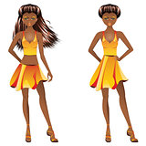 Afro American Girl in Dress