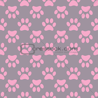 Animal paw seamless gray pink pattern