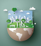 Paper art concept of Eco friendly , save the earth.
