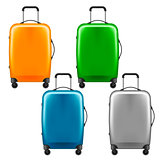 Modern plastic wheeled suitcase - set of baggage