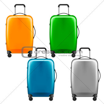 Modern plastic wheeled suitcase - set of baggage