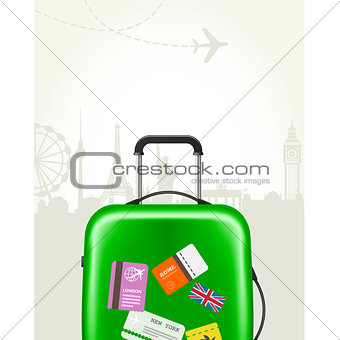 Modern suitcase with travel tags - journey baggage