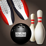 Bowling shoes, skittles and ball - bowling tournament poster