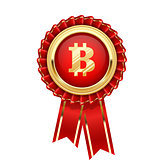 Rosette with bitcoin symbol - cryptocurrency icon
