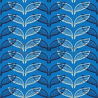 Angel wings blue sketch pattern