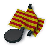 music note symbol symbol and flag of catalonia - 3d rendering