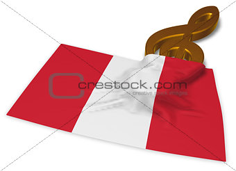 clef symbol symbol and flag of peru - 3d rendering