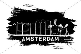 Amsterdam Skyline Silhouette. Hand Drawn Sketch.