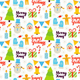 Christmas Greetings Seamless Pattern