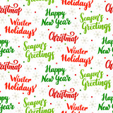 Christmas Holiday Lettering Seamless Pattern