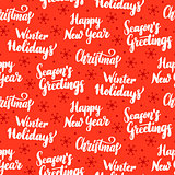 Winter Holidays Lettering Seamless Pattern