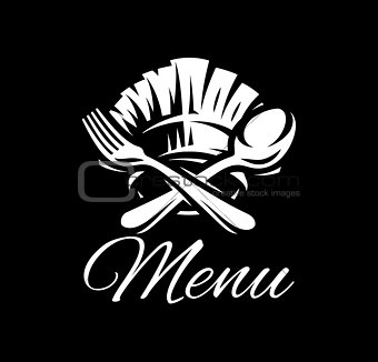 Black vector template with fork, spoon and cap for menu