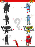 match the shadows game with robots