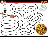 cartoon maze activity with chef and pizza