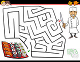 cartoon maze activity with chef and sushi