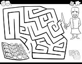 maze game coloring book with chef and sushi