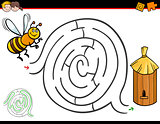 cartoon maze activity with bee and hive