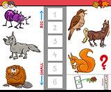 big and small animals cartoon activity game