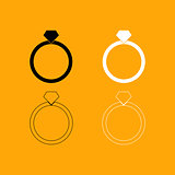 Ring set black and white icon .