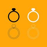 Ring set black and white icon .