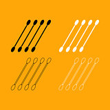 Cotton swabs set black and white icon .